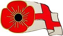 England Rugby-Pin, diseño de amapola y bandera de