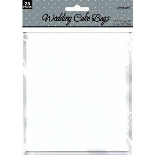 "Amscan Wedding Party Supply Lovely Cake Bag, 7-1/2 x 5-3/4"", White"