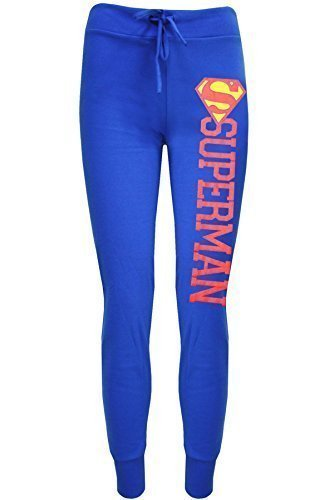 Oops Outlet Womens Ladies Batman Superman Jog Bottom Full Length Stretch Trouser S/M (US 4/6) Superman Jog Bottom Blue (Superman Pants compare prices)