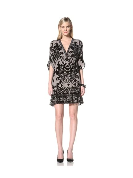Hale Bob Women's V-Neck Dress with Flocking