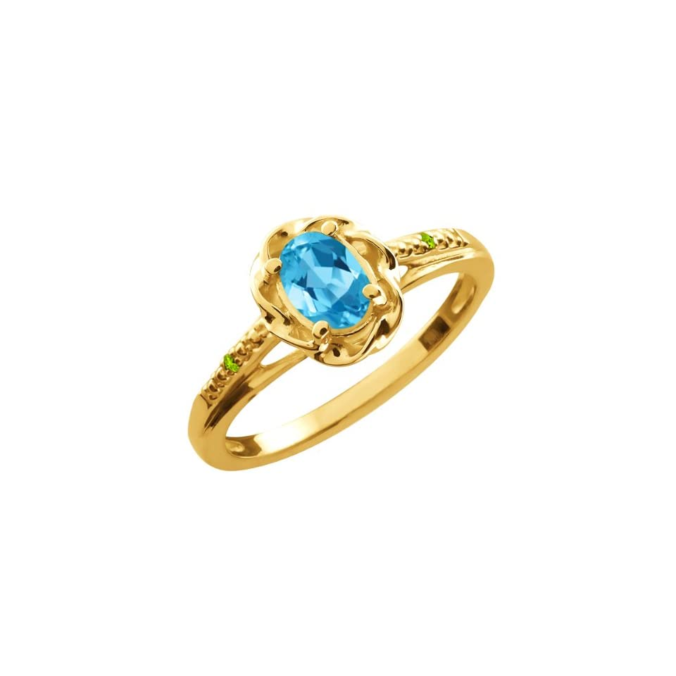 Oval Swiss Blue Topaz Green Peridot Gold Plated Sterling Silver Ring