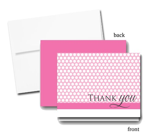 Pink And White Polka Dots Thank You Cards (Set Of 12 Cards And Envelopes) front-1000868