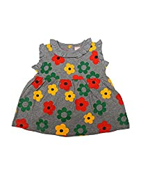 Juscubs Floral all over printed frock with ruffled neck and sleeve