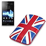 Sony Xperia Acro S Premium PU Leather Pocket Case / Cover / Pouch - Union Jack By Terrapin