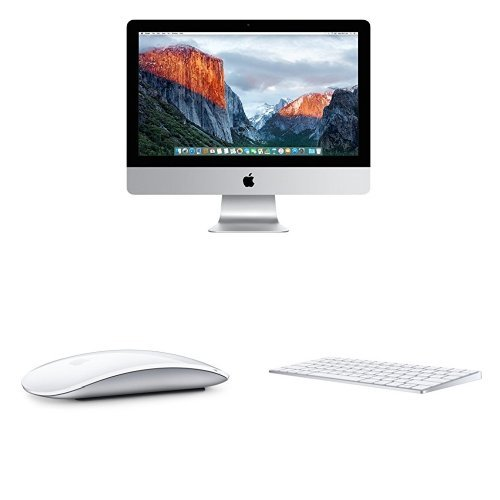 Apple iMac MK452LL/A 21.5-Inch Retina 4K Display Desktop (1TB HDD), Silver (Newest Version) & Magic Mouse & Keyboard Bundle