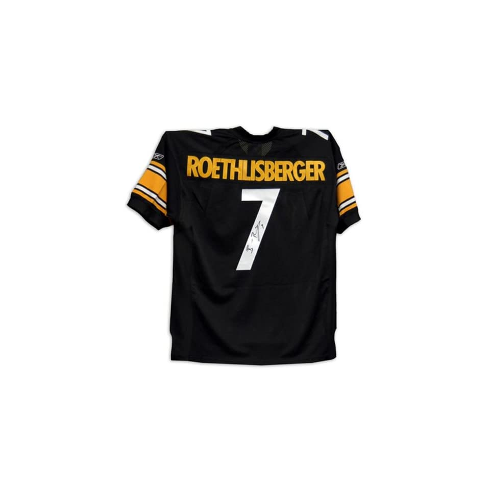 310aace24 Ben Roethlisberger Signed Steelers Reebok Authentic Black Jersey on ...