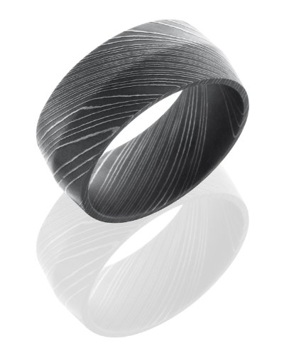 Stainless Steel, Etched Damascus Steel Wedding Band (sz 4)