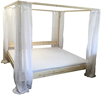 Himmelbett Bett Holz massiv Holzbett mit Vorhängen 90 100 120 140 160 180 200 x 200cm hergestellt in BRD (200cm x 200cm)