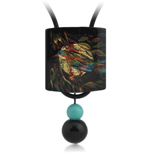 Wooden Hand Painted Pendant with Black Jade Bead (30x55mm)