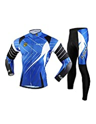 Guang FJQXZ Men's 3D Slim Cut Breathable Long Sleeve Cycling Suit - Black + Blue(Delivery color and size)(XXL)