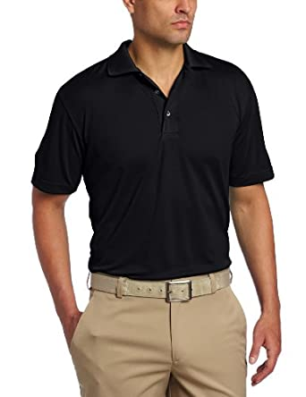 Jack Nicklaus Men's Cool Plus Solid Eyelet Short Sleeve Polo, Black, Small