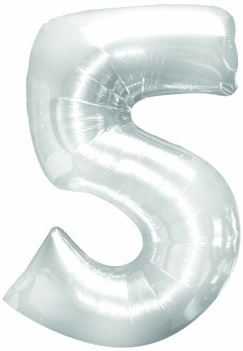 Number 5 Metallic Silver 40in Balloon - 1