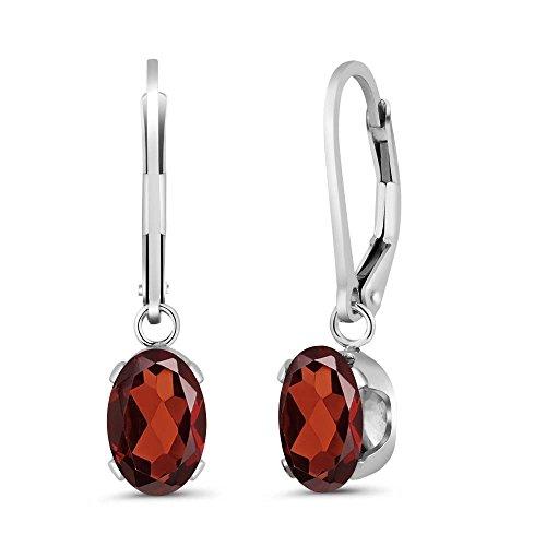 2.80 Ct Genuine Oval Red Garnet 925 Sterling Silver Women's Earrings