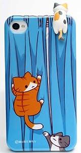にゃんこ型イヤフォンジャックカバー ぶらさがり限定版(三毛)+iphone4/4sカバー カーテン/ピンクカンパニー