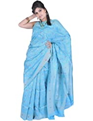 Exotic India Blue Atoll Banarasi Sari With With All-Over Hand-woven Flowe - Blue