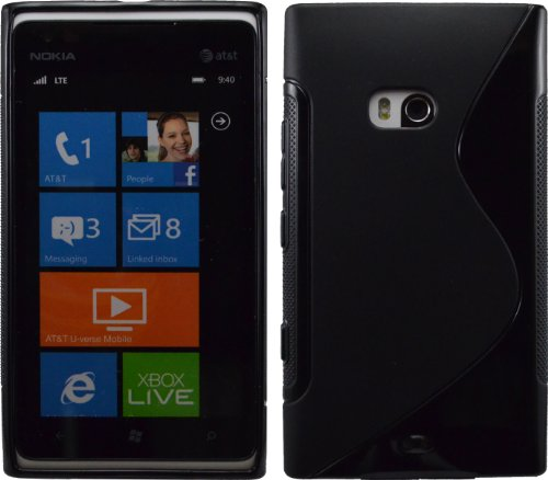 Black S-Line Flexible Tpu Back Case For Nokia Lumia 900 At&T Crystal Candy Crystal Candy