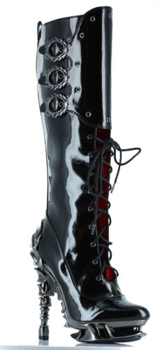 Hades Black Hyperion Steampunk Knee Boots UK 5.5