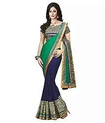 Shree fashion women's Top Fabrics semi stitched blue PADDING saree