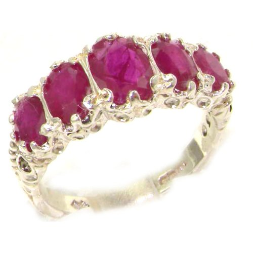 Luxury Ladies Victorian Style Solid Hallmarked Sterling Silver Genuine Ruby Ring - Size M 1/2 - Finger Sizes K to Z Available - Perfect gift for Anniversary, Engagement, Wedding, First Child