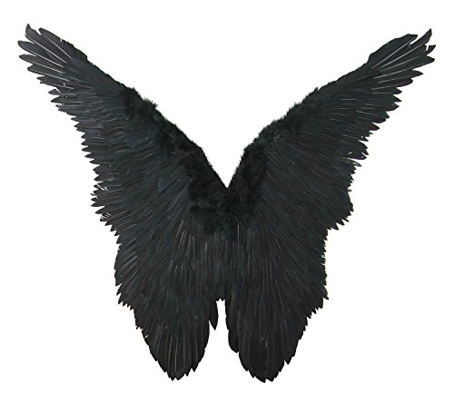 FashionWings (TM) Black Butterfly Style Costume Feather Angel Wings Adult Size Unisex