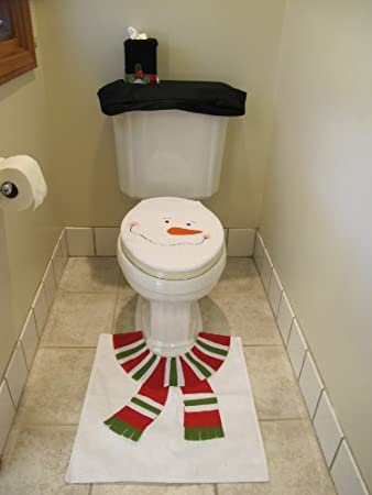 4 Pcs Christmas Santa Bathroom Toilet Seat Cover And Rug Set White Snowman