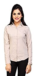 Carrel Brand Imported Cotton Fabric Solid Full Sleeve Shirt Cream Colour Women L Size.