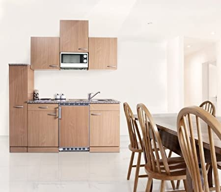respekta KB180BBMIC Mini Single Beech Fitted Kitchen with Ceramic Hob 180 cm Including Microwave