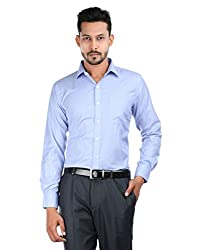 Oxemberg Men's Solid Formal Cotton Poly Light Blue Shirt