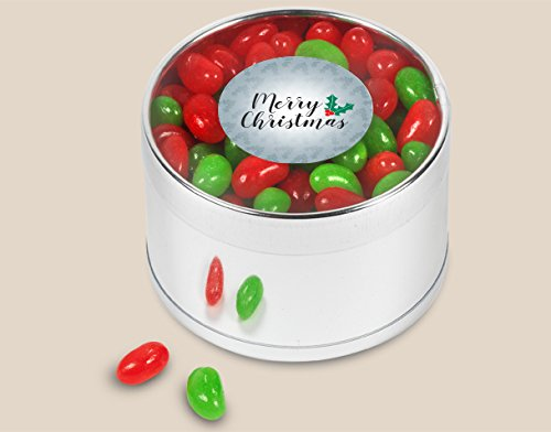 Merry Christmas Plastic Gift Tin Jelly Beans 7.2oz (Silver Jelly Beans Candy compare prices)