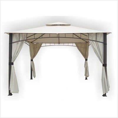 DC America SHGO12105MBR-GM Soho 10-Foot x 12-Foot Square Column, Two Tier Gazebo with Faux Privacy Screen, Bronze