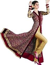 VH Fashion Women's Stylish Maroon Velvet Anarkali Salwar Suit Dress Material