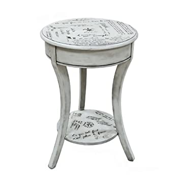 Carolina Cottage Vintage Cream Parisian Script Accent Table