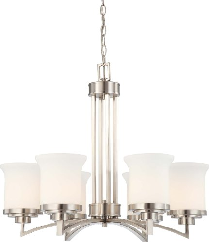 B003Z6PIEY Nuvo Lighting 60/4105 Six Light Harmony Chandelier with Satin Glass, Brushed Nickel