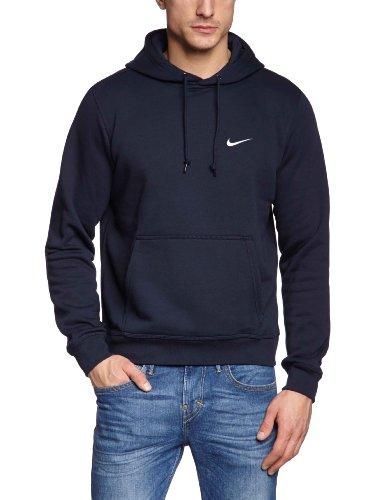 Nike Club Hoody-Swoosh Felpa con Cappuccio, Dark Obsidian/Bianco, M