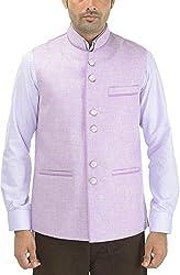 Panache. Men's Round Collar Nehru Coat (P0 82_Mauve_44, Mauve, 44)