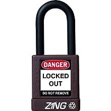 "Zing RecycLock Lockout/Tagout Padlock, Keyed Alike, 1-3/4"" Body Length, 1-1/2"" Shackle Clearance"