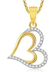 Meenaz Heart Gold Plated Pendant With Chain For Girls And Women PS390