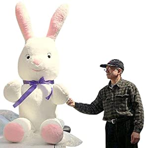 Giant Size 7-feet-tall Big Stuffed Easter Bunny Rabbit - Huge Plush Jumbo Big Large Stuffed Animal - The Biggest Plush Stuffed Bunny in the World - American Made in the USA America - Color: White