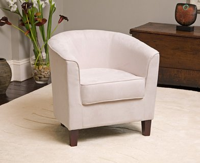 Brand New Stone/White Fabric Tub Chair / Armchair Seating