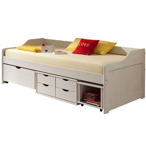 Cadres de lit lit fonctionnel avec rangements sofia pin massif lasur blanc - Cadre lit bois massif ...