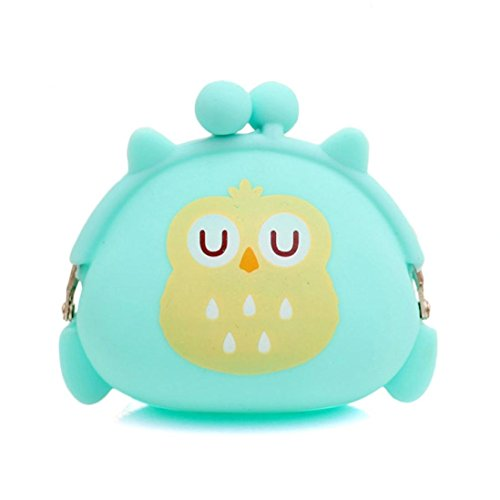 Fortan Silicone della gelatina gufo donne borsa del portafoglio cambiare borsa chiave sacchetto della moneta (Verde)
