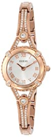 GUESS Womens U0135L3 Petite Embellished Crystal Rose Gold-Tone