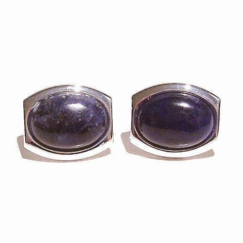 Dark Blue Sodalite & Silver Cufflinks