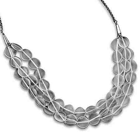Sterling Silver 17 + 2 Inch Triple Strand Crystal Necklace