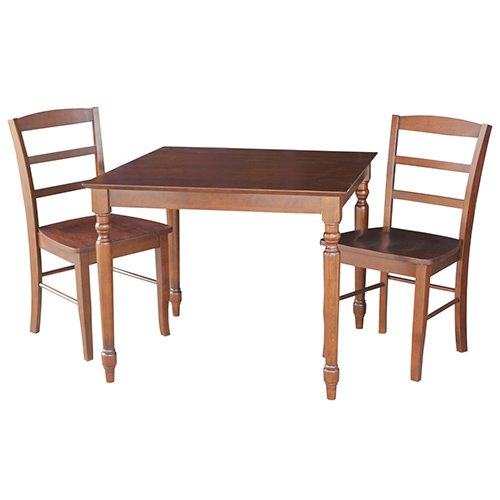 International Concepts K581-3636T-C2P Set of 3 pcs - 30x30 Dining table with 2 ladderback chairs Espresso
