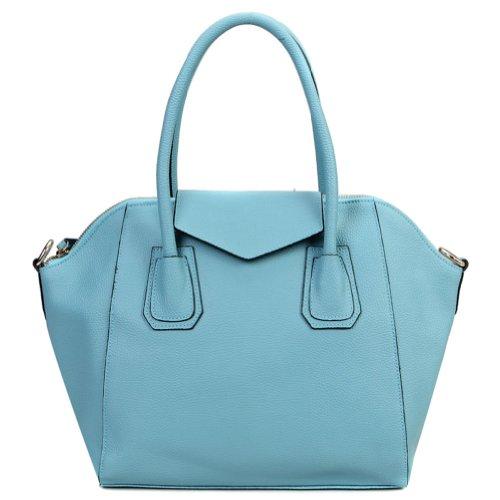 E-Girl 2P5020, Damen Blau Leder Schultertaschen 40x28x14cm (B x H x T)