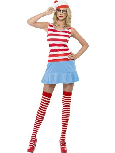 Smiffy's Where's Wenda? Cutie Costume Dress with Hat, Glasses and Stockings - XS, S, M