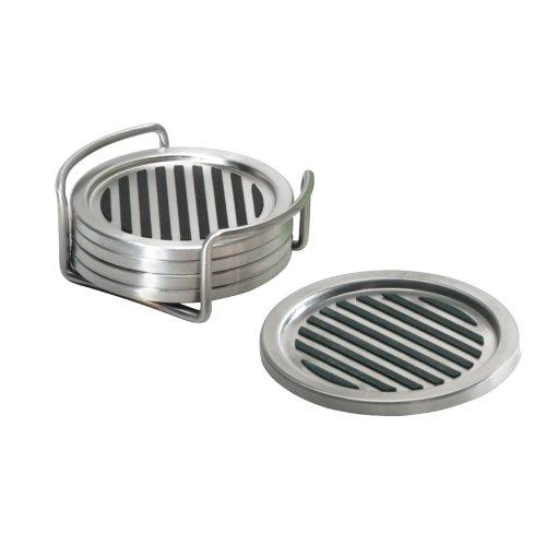 InterDesign Forma Coaster Brushed Stainless Steel Set of 4B0000UZXSY : image