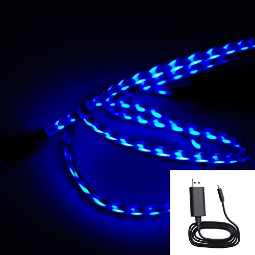 Onedayshop® Brand New Black Blue Visible Flowing Led El Light Micro Usb Sync Data Charging Charger Cable For Samsung Galaxy S4 S3 S I9500, Note 3 2 Iii Ii, Epic 4G Touch, Skyrocket, Galaxy Attain, Galaxy Note, Galaxy Nexus, Galaxy S, Galaxy Pocket, Rugby