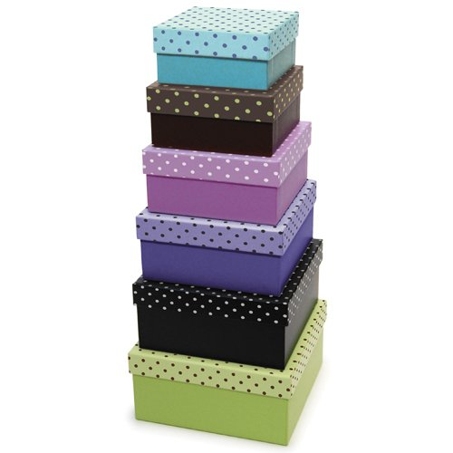 Xonex Simply Desk Nesting Boxes, Set Of 6 Nested Decorative Boxes, Largest 5-1/4 Inch, Smallest 3-1/2 Inch, 1 Set Of 6 Nested Boxes (20107)
